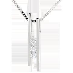 Naszyjnik Diapazon z białego złota 18-karatowego z potrójnym diamentem - 3 diamenty