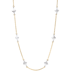 Naszyjnik Geneza - Diamenty nieoszlifowane - złoto białe i złoto żółte 18-karatowe