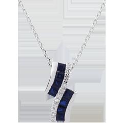 Naszyjnik Konstelacja - Zodiak - szafiry i diamenty - złoto białe 9-karatowe