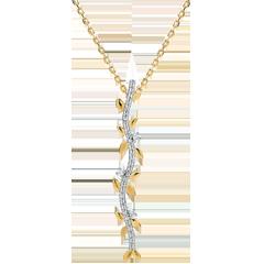 Naszyjnik w kształcie łodygi Zaczarowany Ogród - Królewskie Liście - złoto żółte 18-karatowe i diamenty