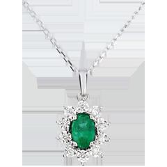 Naszyjnik Ponadczasowa Szarotka - Margerytka Iluzja - szmaragd i diamenty - złoto białe 9-karatowe
