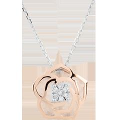 Naszyjnik Świeżość - Róża Absolutna - złoto białe i złoto różowe 18-karatowe