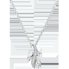 Naszyjnik Tajemniczy Las - złoto białe 9-karatowe i diament w kształcie łezki