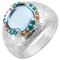 Nausitha Ring - Silver and fine stones