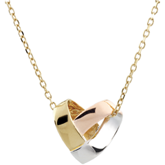 Necklace Folding Heart - 3 golds - 18 carat