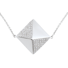 Necklace Genesis - Long necklace rough diamond - white gold
