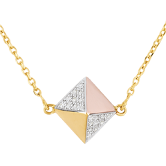Necklace Genesis - Rough Diamond 3 golds - 18 carat
