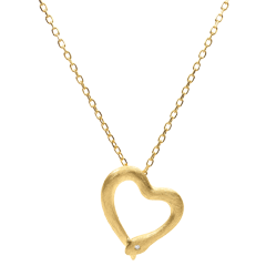 Necklace Imaginary walk - Snake of love - small model - brushed yellow gold diamond- 9 carats