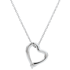 Necklace Imaginary walk - Snake of love - small model - white gold diamond- 18 carats