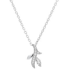 Necklace Mysterious wood - white gold and marquise diamonds - 9 carats
