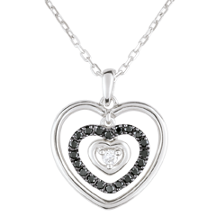 Necklace Printed Heart White Gold - Black Diamonds