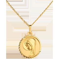 Nowoczesny medalik z Matką Boską o wywiniętym brzegu 16mm - złoto żółte 18-karatowe