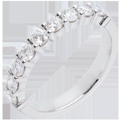 Obrączka z białego złota 18-karatowego w połowie wysadzana diamentami - krapy - 0,75 karata - 9 diamentów