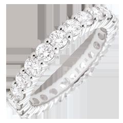 Obrączka z białego złota 18-karatowego wysadzana diamentami - krapy - 2 karaty - Pełny obwód