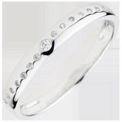 Obrączka diamentowa Ślubna - złoto białe 9-karatowe