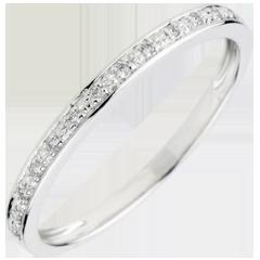 Obrączka Diamentowy Blask - złoto białe 9-karatowe i diamenty - półkole