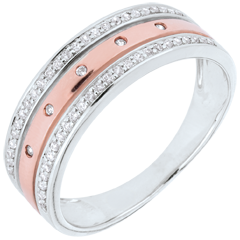 Obrączka Feeria - Gwieździsta Korona - duży model - złoto białe i złoto różowe 18-karatowe