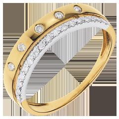 Obrączka Feeria - Gwieździsta Korona - mały model - złoto białe i złoto żółte 18-karatowe