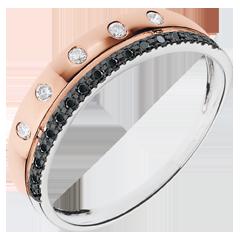 Obrączka Feeria - Gwieździsta Korona - mały model - złoto białe i różowe 9-karatowe oraz czarne diamenty