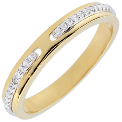 Obrączka Obietnica - dwa rodzaje złota i diamenty - mały model - złoto białe i złoto żółte 9-karatowe