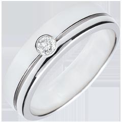 Obrączka Olimpia z diamentem - Duży model - złoto białe 18-karatowe