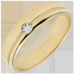 Obrączka Olimpia z diamentem - Średni model - złoto żółte 9-karatowe
