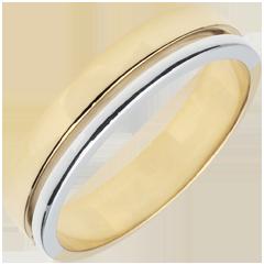 Obrączka Olimpia - Średni model - dwukolorowa - złoto białe i złoto żółte 9-karatowe