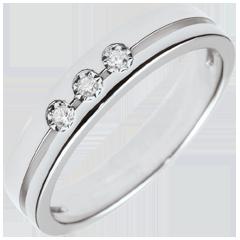 Obrączka Olimpia z trzema diamentami - Mały model - złoto białe 18-karatowe