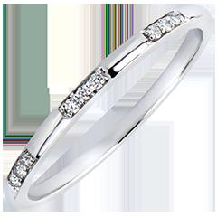 Obrączka Pochodzenie – Panienka – białe złoto 18-karatowe z diamentami