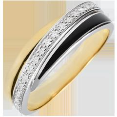 Obrączka Saturn z diamentem - czarna laka i diamenty - złoto białe i złoto żółte 9-karatowe