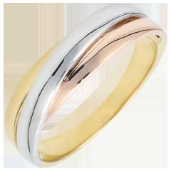 Obrączka Saturn z diamentem - czyste złoto - trzy rodzaje złota 18-karatowego