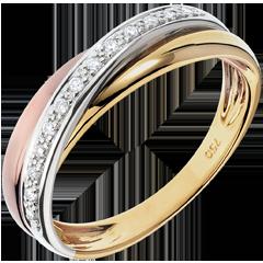 Obrączka Saturn z diamentem - trzy rodzaje złota - trzy rodzaje złota 18-karatowego