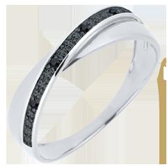 Obrączka Saturn Duo - czarne diamenty - złoto białe 9-karatowe