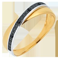 Obrączka Saturn Duo - czarne diamenty - złoto białe i złoto żółte 9-karatowe