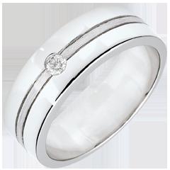 Obrączka Star z diamentem - Duży model - złoto białe szczotkowane 9-karatowe
