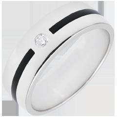 Obrączka Światłocień - Linia i diamenty - Duży model - czarna laka - złoto białe 9-karatowe