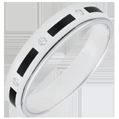 Obrączka Światłocień - paski z czarnej laki - 4 diamenty - 5 mm - złoto białe 9-karatowe