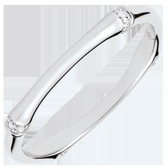 Obrączka Święta Dżungla - Diamenty 2 mm - złoto białe 18-karatowe