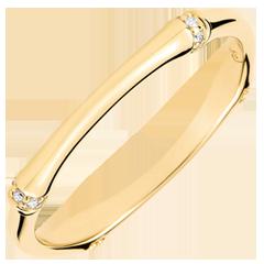 Obrączka Święta Dżungla - Diamenty 2 mm - złoto żółte 18-karatowe