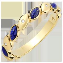 Obrączka Szczęście - Lapis lazuli i diamenty - złoto żółte 9-karatowe