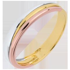 Obrączka Triya z trzech rodzajów złota 9-karatowego