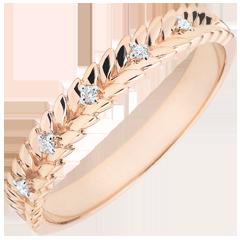 Obrączka Zaczarowany Ogród - Splot z diamentem - złoto różowe 18-karatowe
