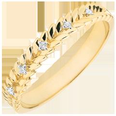 Obrączka Zaczarowany Ogród - Splot z diamentem - złoto żółte 18-karatowe