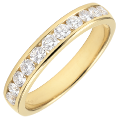 Obrączka z żółtego złota 18-karatowego w połowie wysadzana diamentami - oprawa kanałowa - 0,5 karata - 11 diamentów