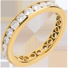 Obrączka z żółtego złota wysadzana diamentami - oprawa kanałowa - 1,9 karata - 23 diamenty