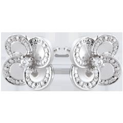 Ohrringe Blüte - Weißer Klee - Gold und Diamanten
