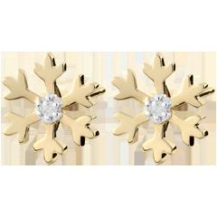 Ohrstecker Schneeflocke - Gelbgold und Diamant