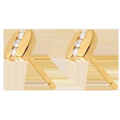Ohrstecker Trilogie mit Spannfassung in Gelbgold - 6 Diamanten