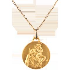 Okrągły medalik z św. Krzysztofem 18mm - złoto żółte 18-karatowe