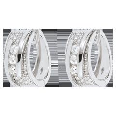 Oorbellen Betovering - Strakke Koord - 18 karaat witgoud - 0.73 karaat - 64 Diamanten